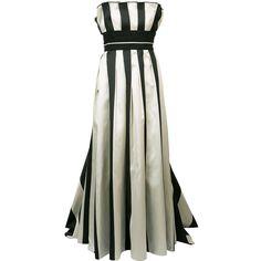 Carolina Herrera striped bustier ball gown (661.835 RUB) ❤ liked on Polyvore featuring white and carolina herrera