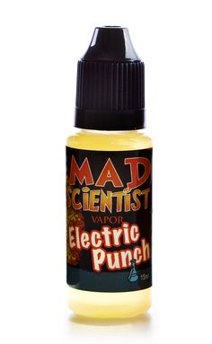 Electric Punch - The Mad scientist mixes five kinds of fruit with 100,000 Volts of high powered flavor. So good it'll make you want to punch your lab assistant.  http://www.madscientistvapor.com/Electric-Punch_p_11.html