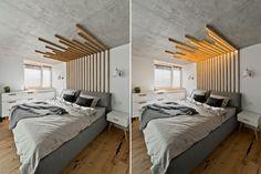 A estrutura, que possui vigas de madeira que correm da parede ao teto, funciona como cabeceira e luminária