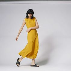 Warehouse, FLUTED HEM SILK MAXI DRESS Yellow 1
