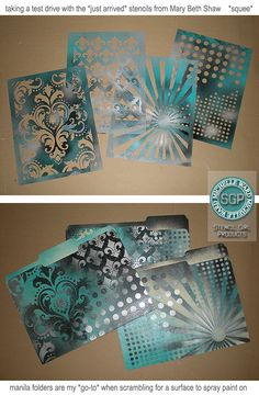 Michelle Ward - stenciled manilla folders. Very cool - looking forward to getting my hands on her new stencils!