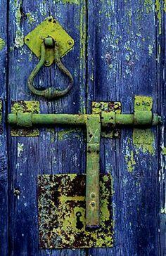 Old blue door with patina hardware. Cool Doors, Unique Doors, Door Knobs And Knockers, Windows And Doors, The Doors, Door Detail, Doorway, Door Handles, Hardware