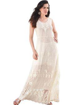 Embroidered Empire Waist Maxi Dress
