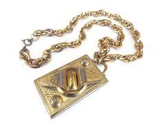 Vintage Gold Modernist Large Locket Necklace - Gold Tone, Embossed, Geometric Locket, Vintage Locket Vintage Necklace, Large Locket by zephyrvintage on Etsy