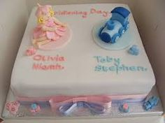 Image result for boy and girl christening cakes