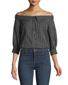 TWPF6 Veronica Beard Britta Off-the-Shoulder Button-Front Striped Top