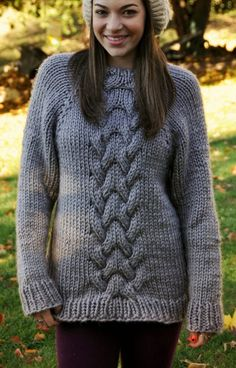 Knitting Pattern for Oversized Cable Sweater - A quick and cozy knit sweater, designed with extra room for comfort in super bulky yarn. Sizes 30 (32, 34, 36, 38, 40, 42, 44, 46, 48) inches