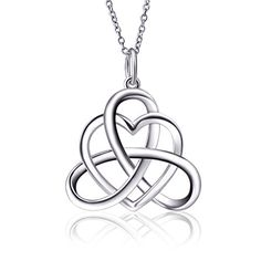 925 Sterling Silver Good Luck Irish Triangle Celtic Knot Heart Vintage Pendant Necklace, Box Chain 18 - best necklaces with an open heart for every style and taste – InnovatoDesign Informations Abou - Jewelry Sets, Gold Jewelry, Women Jewelry, Sapphire Jewelry, Tiffany Jewelry, Necklace Box, Heart Pendant Necklace, Heart Necklaces, Nameplate Necklace