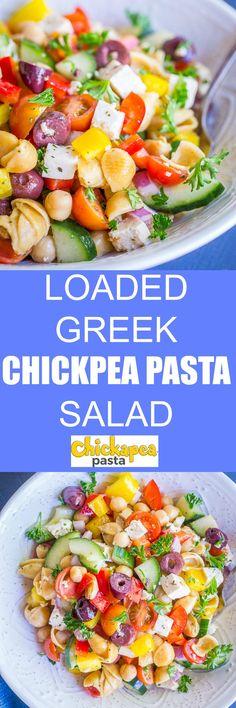 Loaded Greek Chickpea Pasta Salad - She Likes Food