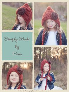 Childrens Hat Crochet Pixie Hat Gnome Hat by SimplyMadeByErin