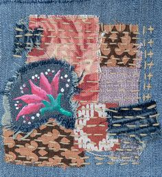 Boro style patch with sashiko stitching Scrap Fabric Projects, Fabric Scraps, Boro Stitching, Fantastic Mr Fox, Knit Fashion, Mixed Media Art, Hand Embroidery, Patches, Upcycled Clothing