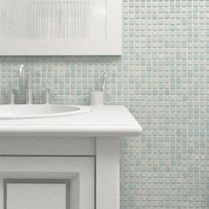 Merola Tile Ruidera Square Mother of Pearl 13 in. x 13 in. x 5 mm Glass Mosaic Tile-GTORSMOP - The Home Depot