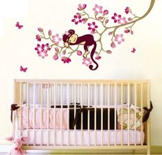 Large Hanging Monkey with Pink Flowers Wall Sticker Decal Ideal for Kids Room Baby Nursery Girls Room