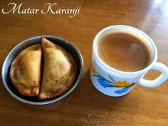 Matar Karanji or Matar Gujiya is an common Maharashtrian snack made using green peas. Green peas along with coriander leaves, green chilies and garlic makes this snack spicy and tasty. It can be served with a cup of hot ginger tea for evening snack. Easy Indian Recipes, Ethnic Recipes, Maharashtrian Recipes, Coriander Leaves, Evening Snacks, Clarified Butter, Ginger Tea, Green Peas, Savory Snacks