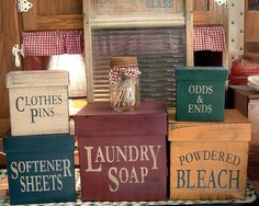 Laundry Room square primitive Shaker Boxes 5 piece set. $47.00, via Etsy.