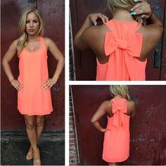 Nacarat Plain Bow Irregular U-neck Sleeveless Chiffon Dress - Mini Dresses - Dresses