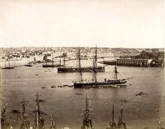 Ships at port Valletta Malta circa 1870s