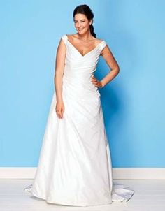 Sleeveless plus size wedding dress designs sometimes will have a v neckline.  This a-line style wedding gown works well on all shapes.  This is a good design for busty brides as well.  We can easily create a wedding dress like this for you with any changes you need - like adding some bling.  We can also make a replica of any dress from a picture.  Contact us directly for pricing on totally custom #plussizeweddingdresses or replicas.