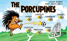 Porcupines-47406  digitally printed vinyl soccer sports team banner. Made in the USA and shipped fast by BannersUSA. www.bannersusa.com