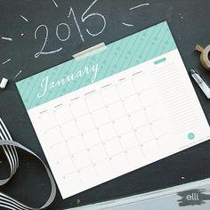 2015 Free Printable Calendar | The Elli Blog