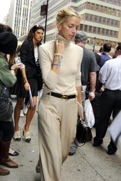 Off white turtleneck, tan wide leg pants, camel belt/rl stirrup belt
