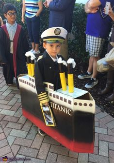 Jean: My son is wearing the costume. He's obsessed with the Titanic. The costume really wasn't too hard to make. We bought the captains outfit. The boat is made from a...
