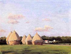 Cosecha, paisaje con cinco montones de heno, 1874-1878