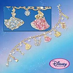 Disney Princess Charm Bracelet With Swarovski Crystals: Collectible Disney Jewelry Disney Engagement Rings, Disney Wedding Rings, Gold Wedding Rings, Disney Charm Bracelet, Disney Jewelry, Disney Proposal, Princess Charming, Disney Charms, Cute Presents