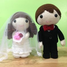 Bride and groom crochet dolls I made for my friend Oli and his fiancée Loz. From a pattern by SimpleArtPlanet.
