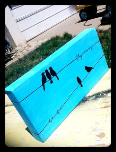 Birds on a wire canvas painting. 5 x 7in. by MorgsCreations, $17.50