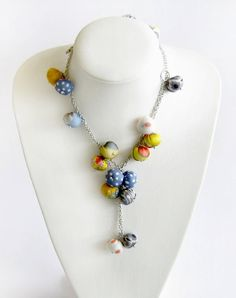 Fabric bead cluster necklace long fabric necklace by LENNYshop #handmadejewelry #unique