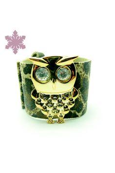Bracelete de couro com aplique de Coruja R$38.00
