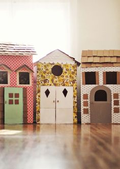 We are loving these DIY Cardboard Playhouses. You can find the tutorial here on lovely blog A Beautiful Mess. You can decorate them however you like - how much FUN!
