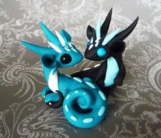 Dragon Couple - Turquoise and Black