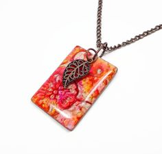 Sunset Flower Pendant Necklace handmade jewelry by BeadazzleMe, $22.00