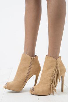 Omaha Fringe Booties #4-inch-heel #accessories #booties #camel #fringe #omaha #peep-toe #shoes #side-zip #women #womens