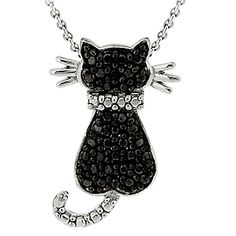 Sterling Silver Diamond/Accent Cat Necklace - Black