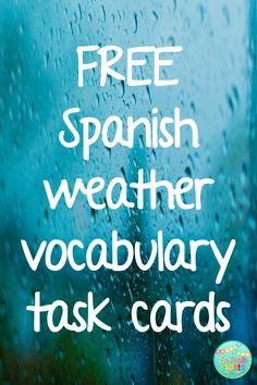 FREE Spanish weather vocabulary task cards, answer sheet, and answer key!