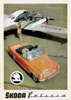 Škoda Felicia poster with L-200 Morava plane (aerotaxi). #Skoda #Czechia #cars