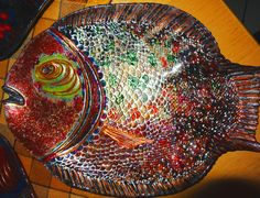 reverse hand painted fish platter