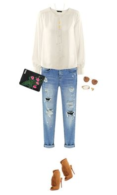 """How to Style a White Flowy Top with Distressed Denim Jeans and a Black Floral Bag"" by outfitsfortravel ❤ liked on Polyvore featuring mode, Forever 21, H&M, Christopher Kane, Christian Louboutin, Jennifer Zeuner, Gorjana, women's clothing, women's fashion et women"