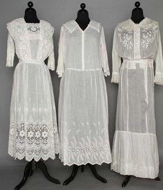 THREE WHITE DAY DRESSES, 1914-1918 : Lot 176