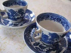 Wood & Sons Ware England / 1917+ Mark/ Blue Willow 2 Demitasse Cup & Saucer Sets #WOODSONS