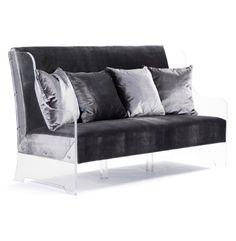 Amazon.com - Wilshire Hollywood Regency Glam Acrylic Arm Velvet Sofa Bench -