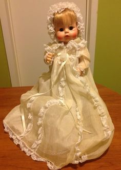 Vintage 1965 Madame Alexander Sweet Tears Baby Doll in Christening Dress