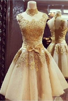 2015 high neck handmade flowers gold short prom dress for teens #prom2015 #promdress