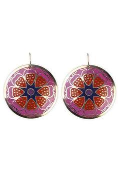 floral print disc earrings $9.50