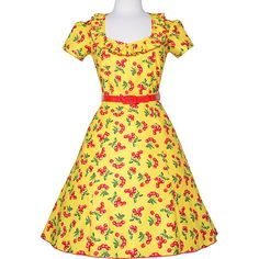 Bernie Dexter Yellow & Red Cherry Ruffle-Neck Belted A-Line Dress ($75) ❤ liked on Polyvore featuring dresses, a line long dress, belted dress, yellow ruffle dress, a line dress and long dresses