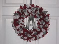 Alabama Crimson Tide Fabric Wreath with Block A by burt7 on Etsy, $32.00