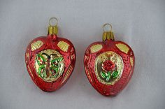 Vintage Mercury Glass Red Heart Shaped Christmas Ornaments Made Germany